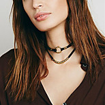 Women Korean Style Simple Metal Ring Pendant Double Layer Flannel Short Choker Necklaces 1pc