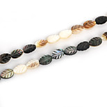 Beadia Natural Black Lip Sea Shell Beads 6x9mm Carved Leaf Beads (38cm/approx 42pcs)