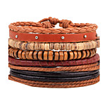 Unisex Fashion Jewelry  Handmade Adjustable Strand Wristband Leather Bracelet Set Casual/Daily Women Men Christmas Gifts