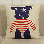 European Style Simple Teddy-Patterned Cushions England London Streetscape Thick Cotton Pillow Cover