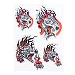 1pc Women Men Waterproof Temporary Body Art Tattoo Wolf Fox Fire Picture Tattoo Water Transfer Fake Sticker HB-312
