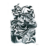 1pc Black Cosplay Skull Bone Death Sickle Tattoo Temporary Women Men Body Sleeve Waist Art Tattoo Sticker HB-273