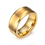 Men's Fashion Personality Tungsten Carbide Matte Finished IP Gold Plating High Polished  Band Rings(1Pc)