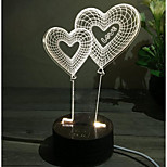 Stereoscopic 3D Visual Creative Transparent Acrylic Transparent Heart-Shaped Night Light Bedside Night Light Bedroom