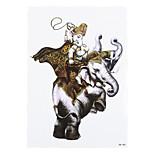 1pc Decal Gold Cloak Temporary Women Men Body Art Holy India White Elephant God Tattoo Sticker Design Bar HB-286