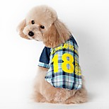Cat / Dog Shirt / T-Shirt Blue / Pink Dog Clothes Summer / Spring/Fall Plaid/Check Fashion / Sports
