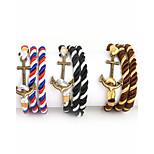 Beadia 1Pc Bronze Anchor & Hook Bracelet Multilayer Warp Rope Cord Bracelet