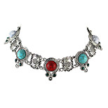 Imitation Turquoise Metal Choker Collar Necklace