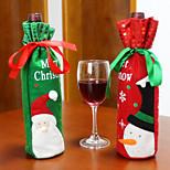 2PCS Hot Sale Christmas Decoration Santa Claus Snowman Red Wine Bottle Cover