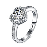 2016 Heart Luxury Hearts And Arrows Wedding 18KGP Platinum Zircon Engagement Ring For Women