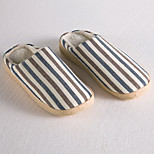 Modern/Contemporary Coffee Brown White Stripped Slide Slippers Men's Slippers