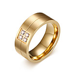 Men's Fashion Personality Simplicity 316L Titanium Steel Gold Ring Rhinestone Band Rings Casual/Daily Gift 1pc