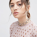 Women Fashion Simple Geometric Alloy Copper Ring Choker Necklaces 1pc