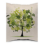 Four Seasons Tree Cotton Linen Fabric Pillow Sofa Cushions Office Nap Pillow Washable Linen Pillow Printing