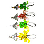 8 cm 6.2g/PC Soft Frog Soft Finished Sequins Single Hook Bait Fishing Lures Bait Environmental 4Pcs/Set