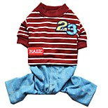 Cat Dog Clothes/Jumpsuit Dog Clothes Winter Spring/Fall Stripe Cute Casual/Daily Dark Blue Gray Red