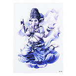 1pc Purple Color Women Men Body Art Waterproof Temporary White Elephant God Immortal Tattoo Sticker HB-283