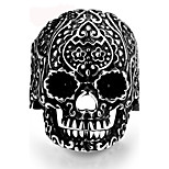 Vintage Ring Men 316L Stainless Steel Punk Carved Flower Skull Finger Ring Men Jewelry