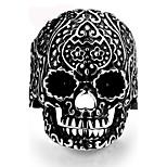 Vintage Ring Men 316L Stainless Steel Punk Carved Flower Skull Finger Ring Men Jewelry