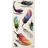 1pc Colorful Waterproof Tattoo Feather Temporary Tattoo Sticker 18.5*9cm