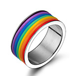 Unisex Fashion Personality 316L Titanium Steel Rainbow Ring Casual/Daily Women And Men Accessory
