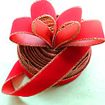 Chiristmas Decorations Supply Pure Red Color Christmas Tree Ribbons With Golden Edge Party Decoration Supply