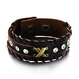 Men's Fashion Jewelry Alloy Rivet Vintage Adjustable Leather Bracelet Casual/Daily Gift Accessories