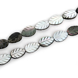 Beadia Natural Black Lip Sea Shell Beads 13x18mm Carved Leaf Beads (38cm/approx 21pcs)