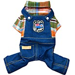 New Winter Warm Classic Gird Denim Fleece Overall Jumpsutis for Pets Dogs (Assorted Sizes and Colours)