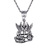 China Jewelry Supplier Kalen New Personalised 316L Stainless Steel Eagle Skull Pendant Necklaces Cool Cheap Gifts