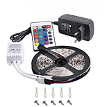 RGB LED Strip 5M 300 3528SMD Flexible Light LED Tape Party Decoration Lamps DC12V 3A Power Adapter  IR Remote Controller