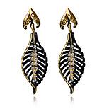 Bohemian Vintage Black Gold Plated Leaves earrings For women Female Fashion Dangle long earrings Accessories brincos