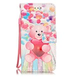 Bear Pattern Perspective Shiny Glare Material PU Leather Card Holder for  iPhone 7 7 Plus 6s 6 Plus SE 5s 5