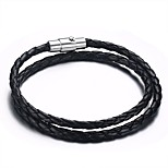 Men's Wrap Bracelet Stainless Steel  Magnitic Butto High Polished High-quality PU Material Daily Birthday Halloween(1Pc)