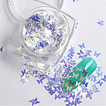 2g/box New Symphony Blue Butterfly/Diamond/Star Paillette Glitter Nails 3d Slice Powder Set DIY Design