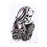 1pc Body Art Beauty Makeup Temporary Believer Skull Pray Flower Picture Design for Women Men Tattoo Sticker HB-324