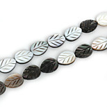 Beadia Natural Black Lip Sea Shell Beads 12x16mm Carved Leaf Beads (38cm/approx 24pcs)