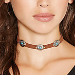 Women Bohemian Vintage Flower Turquoise Collar Necklace Simple Metal Velvet Choker Nacklace 1pc