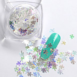2g/box New Symphony Blue Clover/Note/Moon Paillette Glitter Nails 3d Slice Powder Set DIY Design
