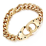 Kalen Men's 18K Dubai Gold Plated Link Chain Bracelet Shiny 316L Stainless Steel Infinity Charm Male Chain Bracelet