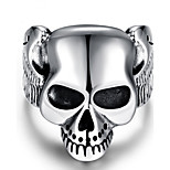 Silver Punk 316LStainless Steel Men Ring Vintage Skull Head Men Jewelry retro bague homme