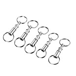FURA Outdoor Iron Alloy Detachable Double Ring Keyrings - Silver (5PCS)