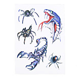 1pc Women Men Body Art Temporary Tattoo Ferocity Snake Scorpion Spider Animal Style Design Tattoo Sticker HB-319