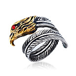 Unisex Fashion 316L Titanium Steel Vintage Personality Owl Engraved Zircon Statement Rings Casual/Daily Women Men 1pc