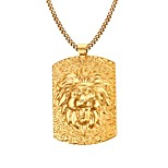 Gold Medal LionThe King 18K Gold Necklace Men