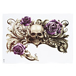 1pc Purple Rose Flower Skull Picture Tattoo Design Temporary for Women Men Body Chest Waist Art Tattoo Sticker HB-271