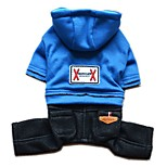 Lovely Solid Colour Denim Jumpsuit with Hoodies  for Pets Dogs (Assorted Sizes and Colours)
