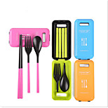 Students Creative Portable Three-Piece Cutlery 3 Box Chopsticks Spoon Suit Lovely Children Packed Travel