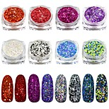 1 Bottle Dazzling Nail Art Glitter Cheese Sequins Powder Bright Color Manicure Pigment Dust Nail Art Decorations SN25-32