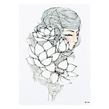 1pc Temporary Women Men Body Leg Art Tattoo Sticker White Lotus Fairy Picture Styling Tattoo Design HB-244